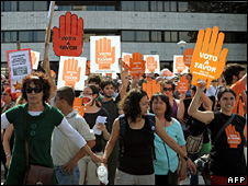Pro-choice demonstrators outside Uruguay's Congress