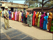 Voters at a polling booth in Chattisgarh