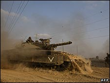 Israeli tank at Gaza border - September 2008