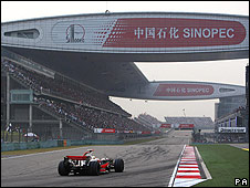 Lewis Hamilton on his way to winning the Chinese Grand Prix