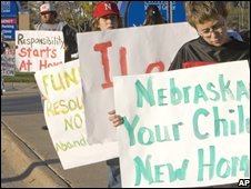 Anti-child abandonment protesters in Nebraska
