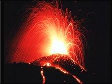Mount Etna erupting with fireworks