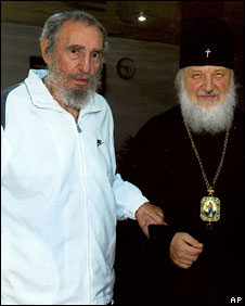 Fidel Castro with Metropolitan Kirill, reportedly pictured on 20 October