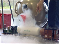 Toy train with dry ice