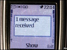 Text message on mobile, PA