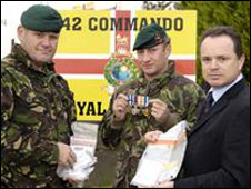 WO Mike Bowen (l), Sgt Dave Strickson and Det Sgt Giles Hook: Pic MoD/Chris Winter