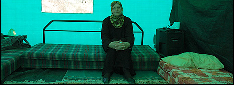 Fawzia al-Kurd in the tent where she now sleeps