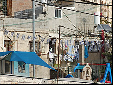 Israeli flags on house in Shimon Hatzadik/Sheikh Jarrah