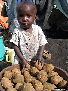Boy standing in front of a bowl of potatoes (Image: Gorilla.cd)