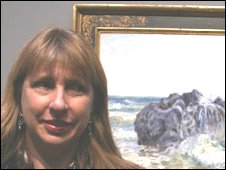 Prof Ann Sumner at the Sisley exhibition in the National Gallery, London