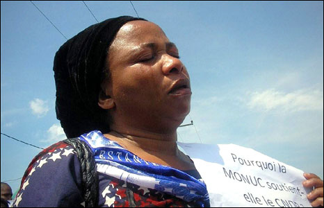 A woman weeps during the protest (Photo: ActionAid)