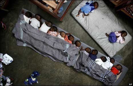 Orphans and lost children at the Don Bosco Ngangi center in Goma