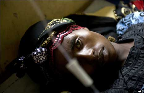 A cholera-stricken woman at the hospital in Goma