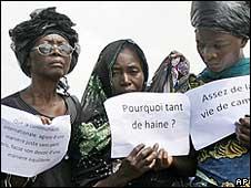 Women protesting in Goma