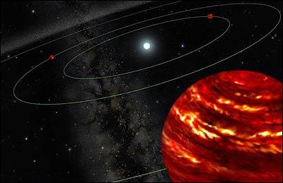 Concepción artística del nuevo sistema multiplanetario (Observatorio Gemini)