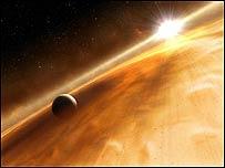Imagen artística de la estrella Fomalhaut y su planeta (ESA, NASA, and L. Calcada)