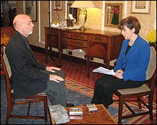 Hamid Karzai and Lyse Doucet