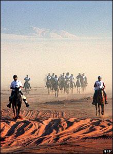 Jockeys compete with their horses in the Jordanian desert