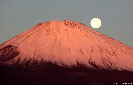 Moon over Mount Fuji, Japan