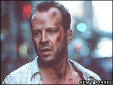 Bruce Willis on the set of Die Hard in 1995