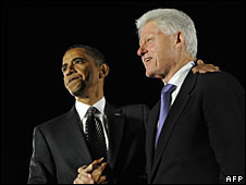 Barack Obama and Bill Clinton at a joint rally in Florida, 29 October 2008