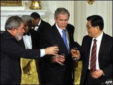Brazilian President Luiz Inacio Lula da Silva, US President George W Bush and Chinese President Hu Jintao