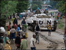 UN tank in Kiwanja, about 80km (50 miles) north of Goma