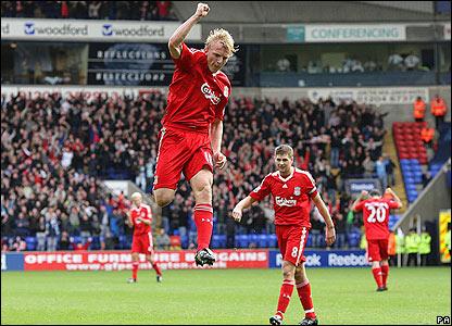 Liverpool's Dirk Kuyt celebrates