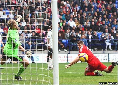 Jussi Jaskalainen (Bolton), Steven Gerrard (Liverpool)
