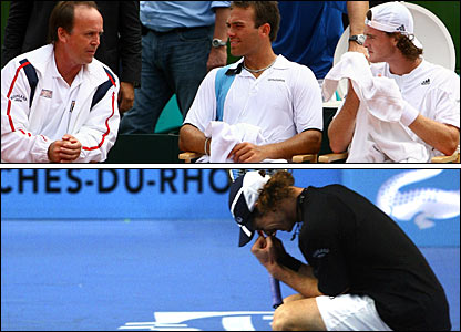 Great Britain Davis Cup captain John Lloyd with Ross Hutchins and Jamie Murray (top); Andy Murray wins in Marseille (bottom)