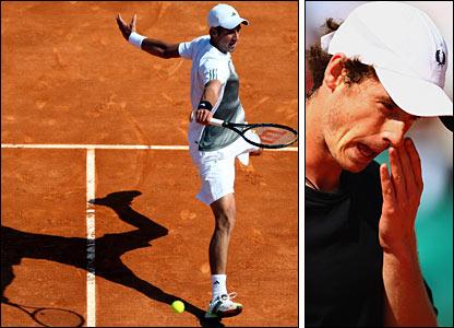Novak Djokovic (left) thrashes Murray 6-0 6-4 in the third round in Monte Carlo