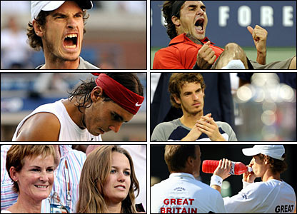Murray beats Nadal for the first time in the US Open semi-finals, to the delight of mum Judy and girlfriend Kim Sears (bottom left); Federer (top right) proves too strong in the final; Murray cannot give GB captain Lloyd (bottom right) a win over Austria at Wimbledon