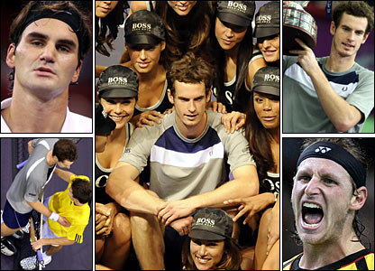 Murray beats Federer (top left) for the second time in 2008 in the Madrid Masters semis, and sees off Gilles Simon (bottom left) in the final; Murray defends his title in St Petersburg (top right) but loses to David Nalbandian in Paris (bottom right)