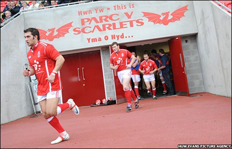Llanelli run out for the first game at Parc y Scarlets