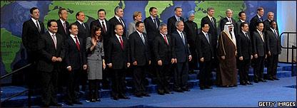 Foto de grupo de los mandatarios, incluida Cristina Fernández