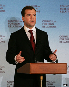 Dmitry Medvedev speaks at the Council of Foreign Relations in Washington (15 November 2008)