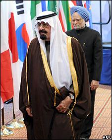 King Abdullah of Saudi Arabia and Manmohan Singh of India at the summit (15 November 2008)