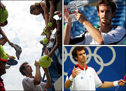 A relieved Murray signs autographs (left) after struggling past Carlos Moya in Cincinnati, where he goes on to win the title (top right); Olympic disappointment follows (bottom right)