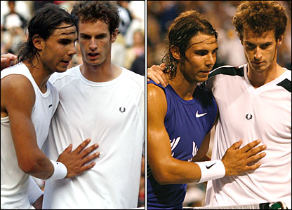 Rafael Nadal ends Murray's Wimbledon hopes in the quarter-finals (left), and repeats the trick in Toronto later in July