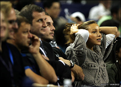 Djokovic's supporters, including his girlfriend Jelena Ristic