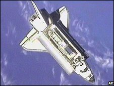 Endeavour as seen from the space station in an image taken in December 2000