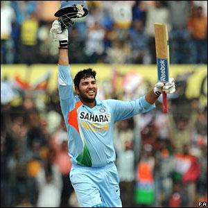 Yuvraj Singh celebrates his century