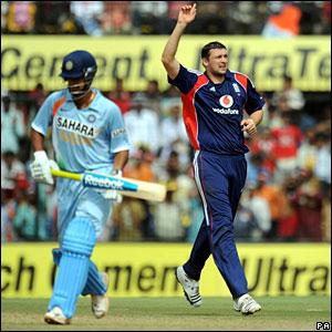 Steve Harmison celebrates bowling RP Singh