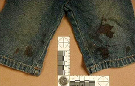 Bloodstained jeans