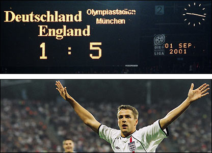 Michael Owen celebrates his hat-trick in England's 5-1 win over Germany