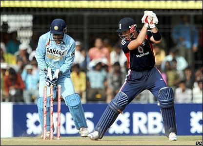 Matt Prior is bowled by Yuvraj Singh