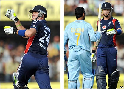 Kevin Pietersen loses his bat (left) and is given it back by Mahendra Dhoni (right)