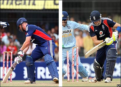 Andrew Flintoff is trapped lbw by Yuvraj Singh, while Kevin Pietersen is bowled by the same bowler