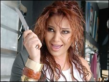 Suzanne Tamim on the set of a pop video, March 2008