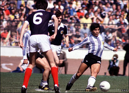 Diego Maradona gave a viruoso display at Hampden in 1979
